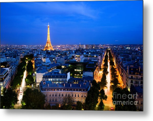 Skyline Of Paris Metal Print