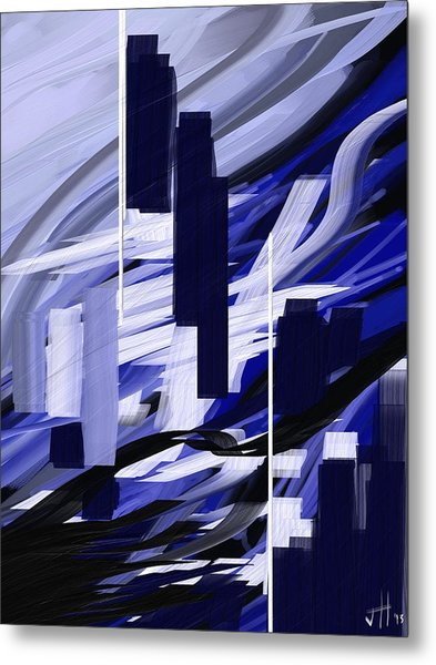 Metal Print featuring the painting Skyline Reflection On Water by Jennifer Hotai