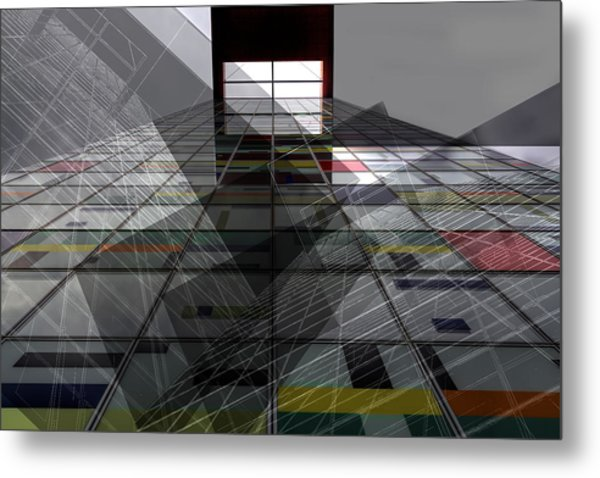 Skyward - Steel And Glass Combines Metal Print by Marianne Wogeck