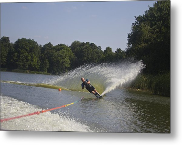 Slalom Waterskiing Metal Print