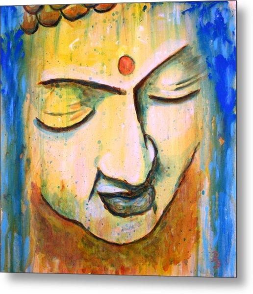 Sleeping Buddha Head Metal Print