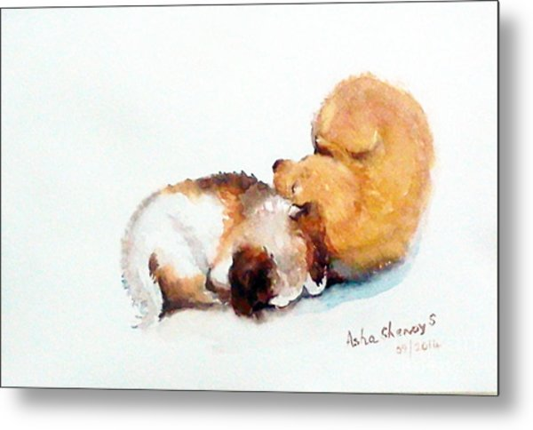 Sleeping Puppies Metal Print