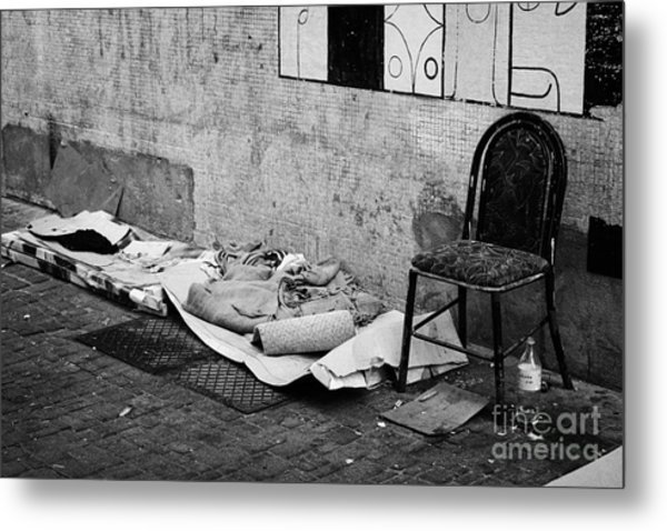 sleeping rough on the streets of Santiago Chile Metal Print by Joe Fox