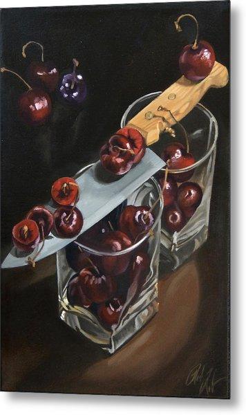 Sliced Black Cherries Metal Print