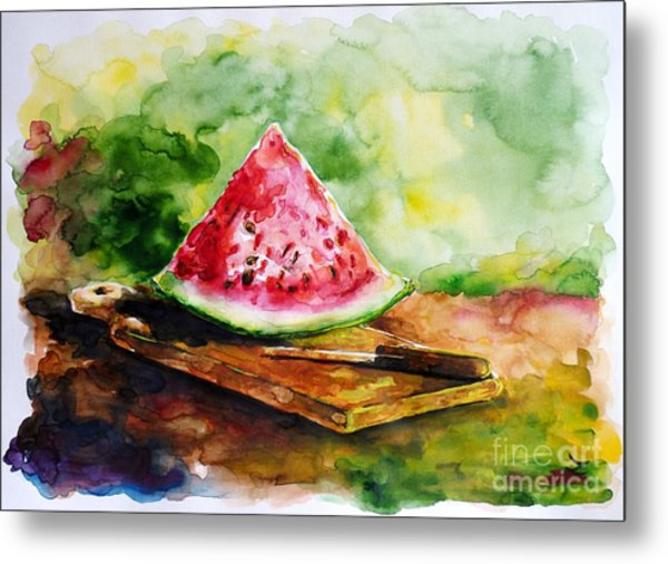 Sliced Watermelon Metal Print