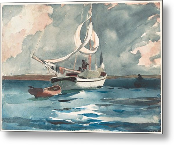 Metal Print featuring the painting Sloop  Nassau Bahamas by Winslow Homer