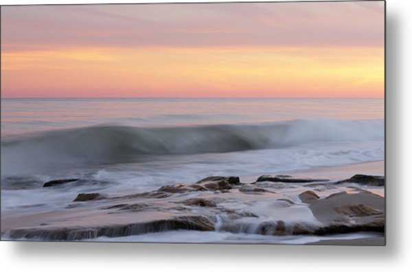 Slow Motion Wave At Colorful Sunset Metal Print