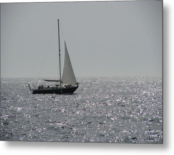 Small Boat At Sea Metal Print