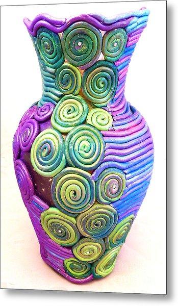 Small Filigree Vase Metal Print