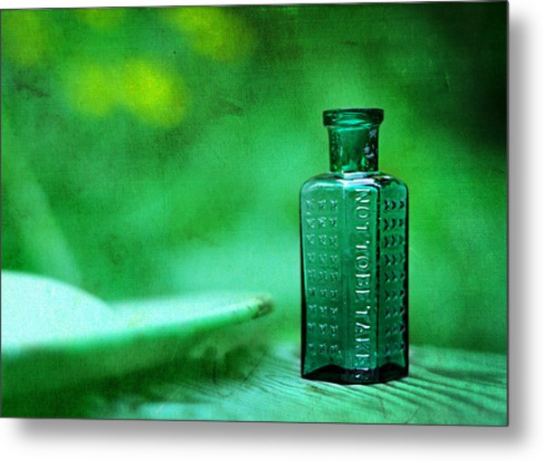Small Green Poison Bottle Metal Print