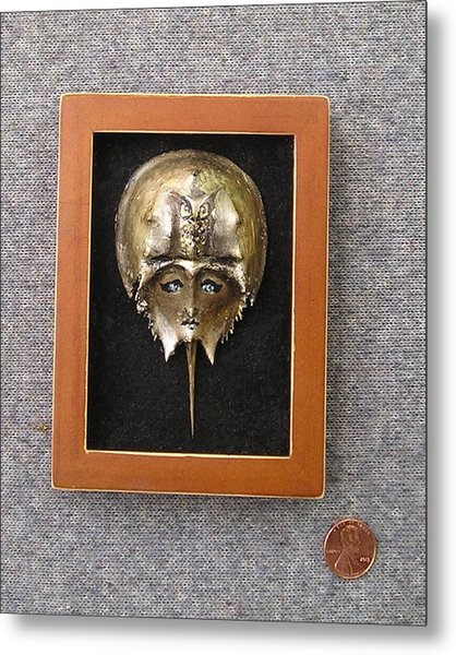 Small Horseshoe Crab Mask Metal Print