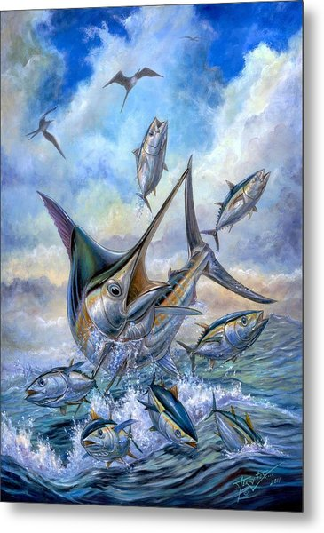Small Tuna And Blue Marlin Jumping Metal Print
