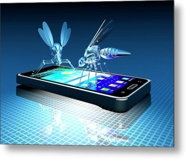 Smartphone With Nano Bugs Metal Print by Victor Habbick Visions