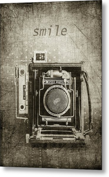 Smile For The Camera - Sepia Metal Print