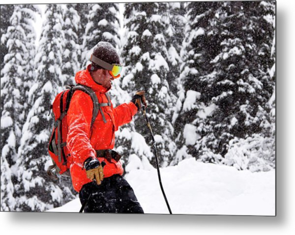 Smiling Male Skier On A Snowy Landscape Metal Print