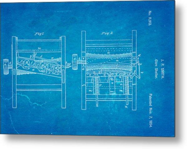 Smith Corn Sheller Patent Art 1854 Blueprint Metal Print