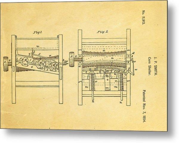 Smith Corn Sheller Patent Art 1854 Metal Print