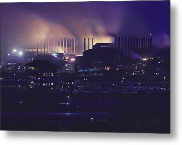 Smoke And Flame Rise Above The Mills Metal Print by B. Anthony Stewart