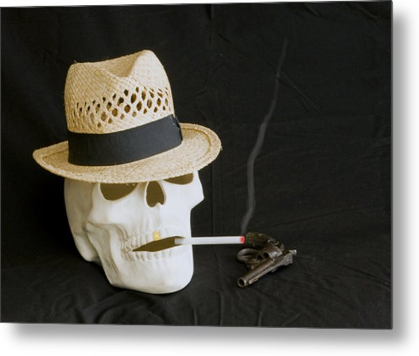 Smoking Skull  Metal Print by Danny Jones