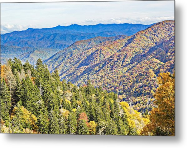 Smoky Mountain Autumn Vista Metal Print