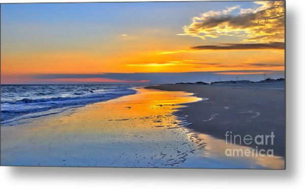 Smooth Sunset On Ocracoke Outer Banks Metal Print by Dan Carmichael