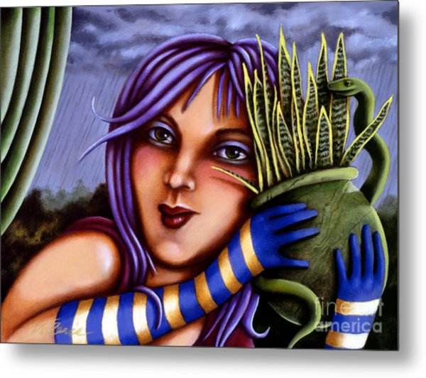 Metal Print featuring the painting Snake Snakeplant by Valerie White