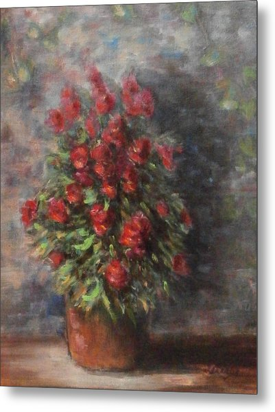 Metal Print featuring the painting Snapdragons by Katalin Luczay