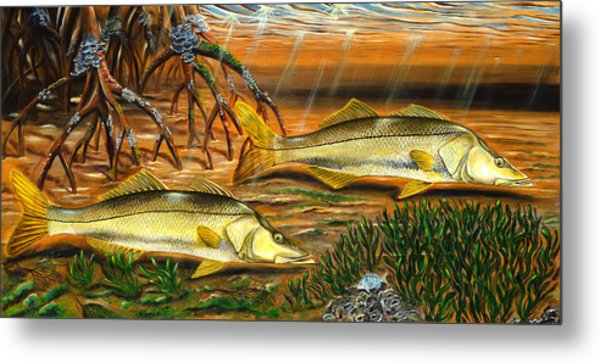Metal Print featuring the painting Snook In The Mangroves by Steve Ozment