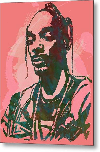 Snoop Dogg - Stylised Pop Art Drawing Potrait Poser Metal Print