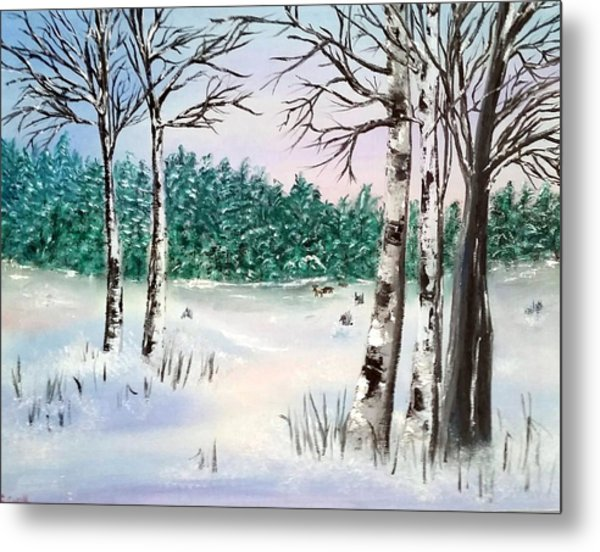 Snow And Trees Metal Print