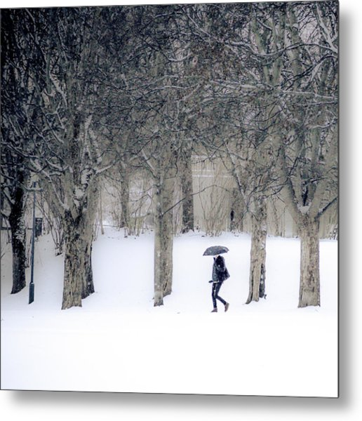 Woman With Umbrella Walking In Park Covered With Snow Metal Print