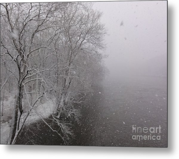 Snow At Bulls Island - 12 Metal Print