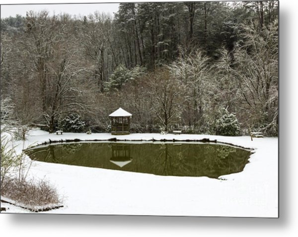 Snow At The Pond Metal Print