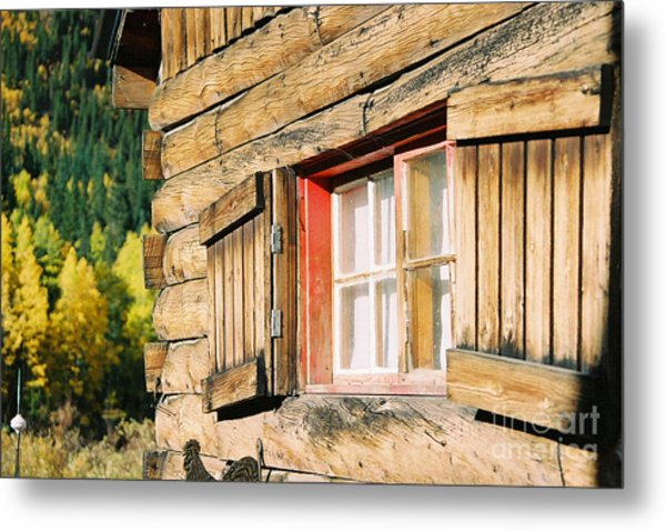 Snow Cabin Window Metal Print