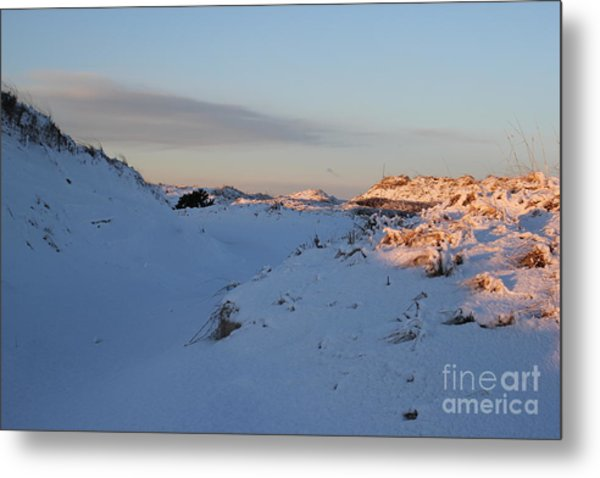 Snow Capped Sand Dunes Metal Print