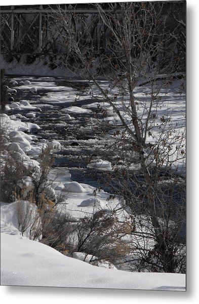 Snow Capped Stream Metal Print