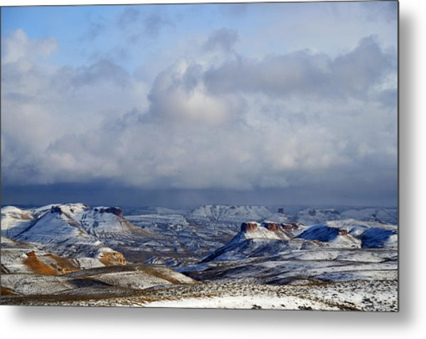 Snow Clouds Over Flaming Gorge Metal Print
