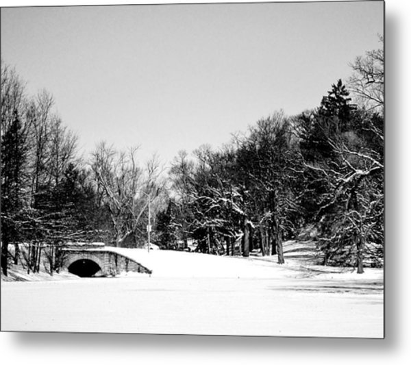 Snow Covered Bridge Metal Print