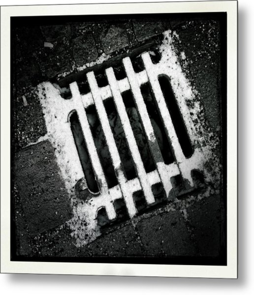 Snow Covered Drain Black And White Minimalism Abstract Metal Print
