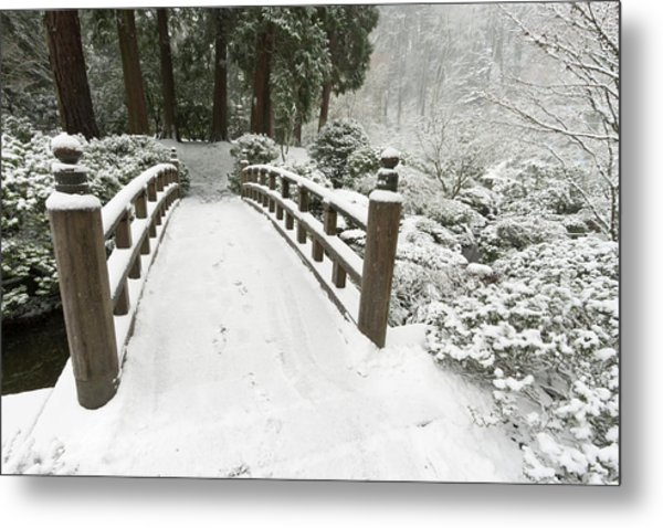 Snow-covered Moon Bridge, Portland Photograph By William