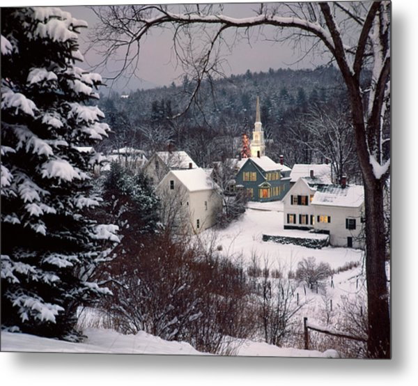 Snow Covered New England Winter Evening Metal Print