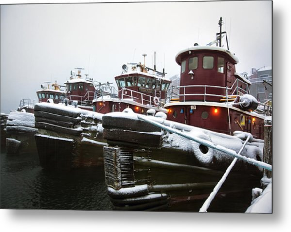 Snow Covered Tugboats Metal Print