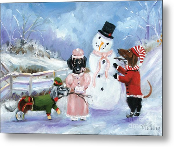 Snow Day For The Dachshund Dogs By Violano Metal Print by Stella Violano
