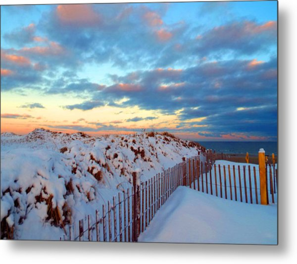 Snow Dunes At Sunrise Metal Print