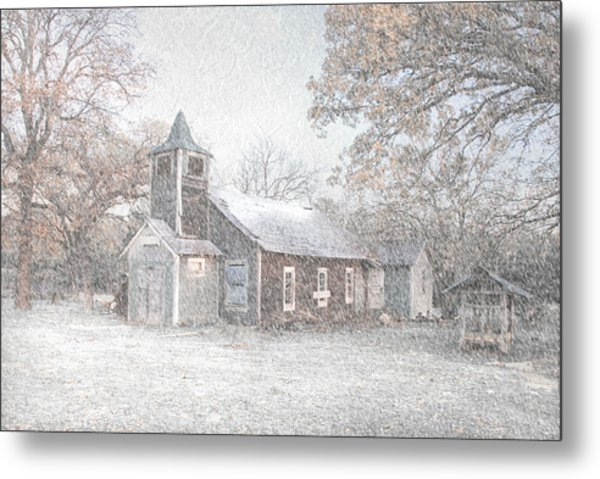 Snow Fall Old Church Metal Print by Cindy Rubin