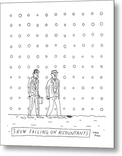 Snow Falling On Accountants -- Two Men Walk Metal Print