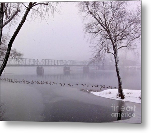 Snow From Lewis Island Bridge Metal Print
