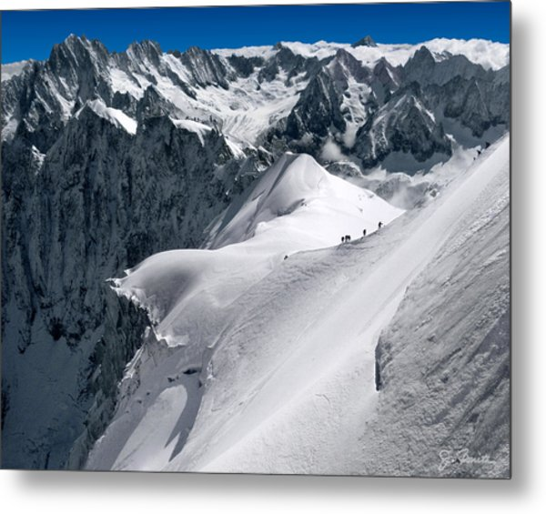 Snow Hikers Metal Print
