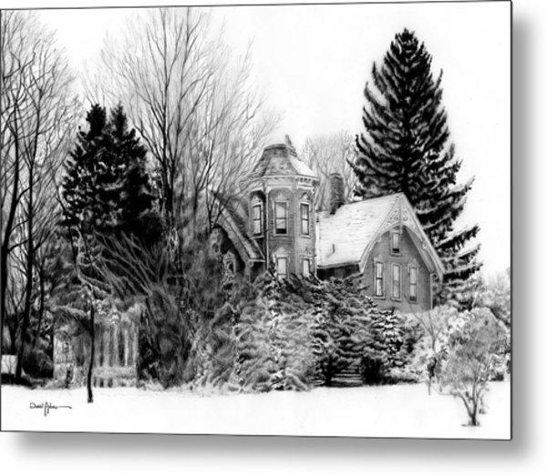 Da196 Snow House By Daniel Adams Metal Print