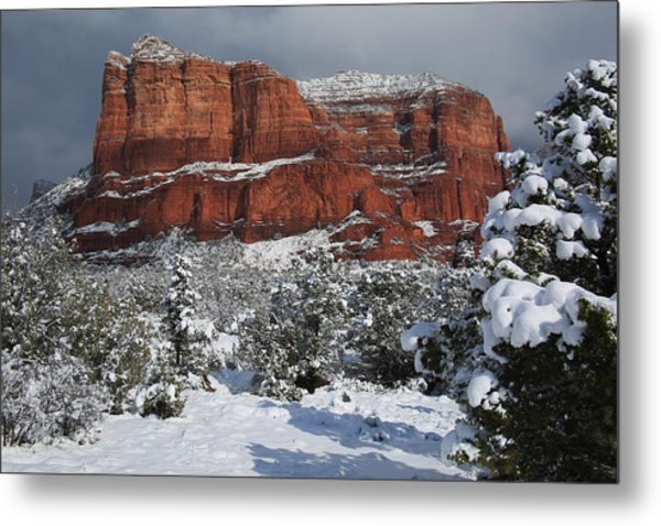 Snow In Sedona Metal Print
